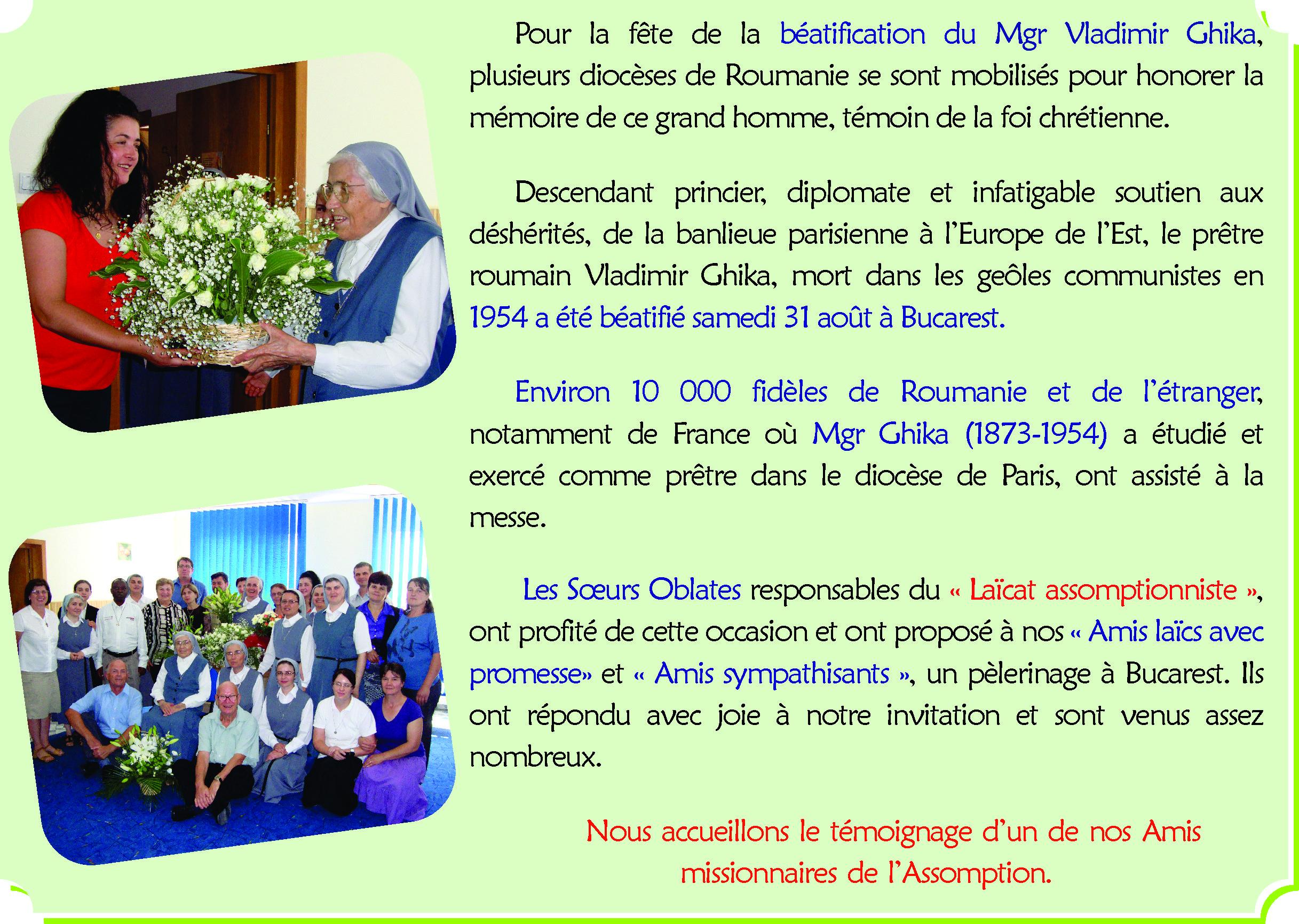 Roumanie Temoignage Messe De Beatification Anniversaire De Sr