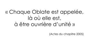 Chaque Oblate est appelée (Actes du chapitre 2005)
